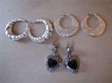 Buy 3 Pair of Hoop & Heart Pierced Earrings # 91