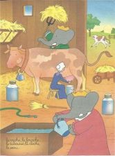 Buy Babar The Elephant Farm Cattle Cow Milking Hay Milk Kids Art 1993 French print