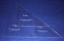 """Buy Laser Cut Quilt Templates- 3 Piece Triangle 6"""",7"""",8"""" - Clear Acrylic 1/8"""""""