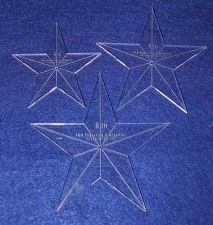 """Buy 3 Piece Set Quilt Stars ~1/4 """" 4"""",5"""",6"""" with Center Hole & Guidelines-Longarm"""
