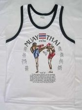 Buy WHITE T SHIRT TANK TOP SINGLET MUAY THAI MEN'S SPORT WEAR SIZE M