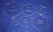 "Buy 6 Piece Half Size Hexagons 1/8"" w/seam Allowance & Guideline Holes"