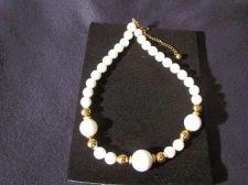 "Buy Sarah Coventry Jewelry White/Gold Beads 18"" - 22"" neck (Newport) #1143"