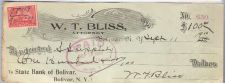 Buy New York Bolivar Cancelled Check W. T. Bliss Attorney To State Bank of Bol~19