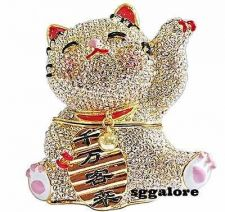Buy RUCINNI Swarovski JAPANESE MANEKI NEKO FORTUNE CAT MINAUDIERE Trinket BOX