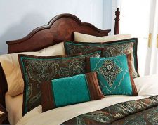 Buy 4-Pc Comforter Set FULL Size Brown Teal Turquoise Blue Jacquard Paisley Cocoa NEW