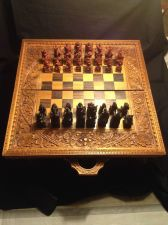 Buy antique carved chessboard. Complete. Made by Ketut Sandi. Bali