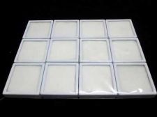 Buy 12 pcs New Gem Tool Display Boxes Square White Box With Lids Top Glass 6x6x2 cm