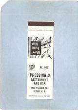 Buy New York Depew Matchcover Pressing's Restaurant & Bar 5823 Transit Rd w/Lo~2366
