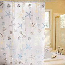 Buy PEVA Bath Shower Curtain Liner w/ Hooks Seashell Starfish Hotel Bathroom Decor