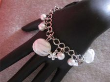 "Buy Womens White Marble-like Charm bracelet.....7"" to 9"" # 86"