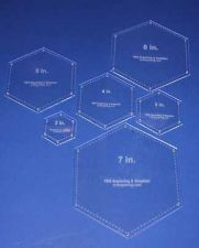 "Buy 6 Piece Set Quilt Hexagons Templates 1/8"" 2"", 3"", 4"", 5"", 6"", 7"" w/ guide holes"