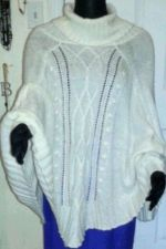 Buy H&M Casual Knit White Classy Women Poncho Outwear 10% Wool 10% Mohair-One Size