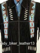 Buy Mens Biker EAGLE BEADED Black SUEDE Leather WESTERN FRINGE Motorcycle Jacket