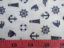 Buy Pirate Boat & Blue Anchor Nautical Fabric,White Cotton Fat Quarter 55 x 55 cm