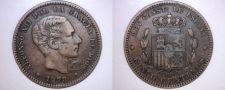 Buy 1878 Spanish 5 Centimos World Coin - Spain