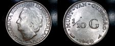 Buy 1948 Curacao One Tenth Gulden Silver World Coin