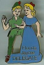 Buy Disney Peter Pan & Wendy Florida Jaycees Delegate 1986 full body pin/pins