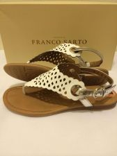 Buy NEW FRANCO SARTO GLEE WHITE LEATHER CUTOUT PATTERN SANDALS W/ SILVER STRAP