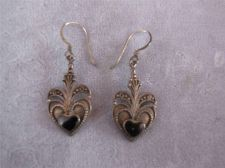 Buy Vtg Sterling Silver Dangling Black Heart Wire Earrings