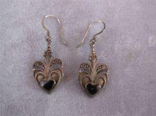 Buy Vtg Sterling Silver Dangling Black Heart Wire Earrings