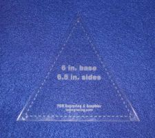 "Buy Quilt Template 1/8 AcrylicTriangle 6"" Tall x 6.5"" Sides- Actual Size- with Guideline"