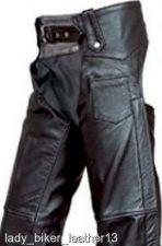 Buy Mens Womens LADIES BIKER Sexy Slim SOFT Black Leather MOTORCYCLE RIDING Chaps