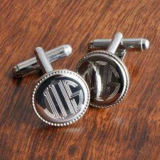 Buy Silver Round Beaded Cufflinks - Free Personalization