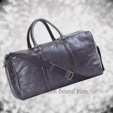 "Buy 21"" Black Leather Duffle Tote Travel Gym Bag Carry On Luggage Satchel Overnight"