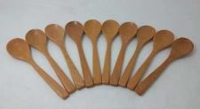 Buy SPOON WOODEN SMALL SUGAR, SALT, CREAM WOOD UTENSIL X 10 PIECES