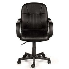 Buy Black Leather Midback Adjustable Home Office Study Computer Chair Dorm Armchair