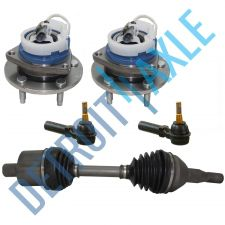 Buy 5 pc Set: Front CV Axle Shaft + 2 Outer Tie Rods + 2 Wheel Hub Bearing w/ ABS