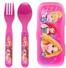 Buy Disney Princesses Fork & Spoon W/Travel Case - Eco Friendly Lunch Box Use - New!