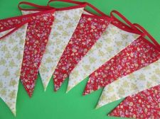Buy Christmas Part Decor Fabric Bunting Double Sided Banner 8 Flags 9 ft 2.7 m.3 yd