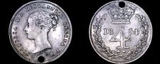 Buy 1854 PL Great Britain 4 Pence World Silver Coin - UK - England - Holed
