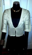 Buy ELEGANT Beige Roommates CARDIGAN Wool Blend CROCHETED Petite Women Size PL-NEW