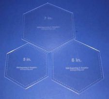 "Buy 3 Piece Set Laser Cut Hexagon Quilting Templates - 5"", 6"", 7"" Clear Acrylic 1/8"""