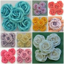 Buy 50 Pcs Mulberry Paper Artificial Large Rose Head Flower Lot Craft 5 cm./ 2 inch