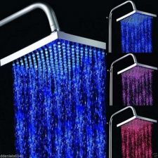 Buy RainFall Showerhead With Arm Included LED Temp Color BathRoom 12 RGB LED Emitter