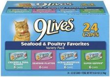 Buy 9Lives Canned Pet Cat Food Seafood Poultry Flavor Feeding Variety Pack 24 Count