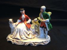 Buy Antique porcelain Germany. couple hunting scene. Marked
