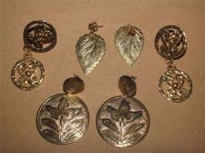 Buy 3 Pair of Gold tone Dangling Leaf & Flower design Pierced Earrings # 99
