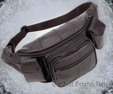 Buy Large Black Solid Leather Fanny Pack Tummy Waist Hip Bag with Cell Phone Holder