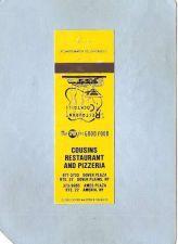 Buy New York Dover Plains Matchcover Cousins Restaurant & Pizzeria Rt 22 Dover~2828