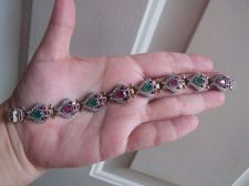 "Buy Vintage Turkish Sterling Ruby Emerald Bracelet 7.5""- 31 grams WEDDING GIFT"