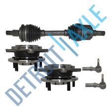 Buy Front Passenger CV Axle Shaft w/ ABS + 2 Tie Rod + 2 Wheel Hub Bearing Assembly