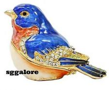 Buy New RUCINNI Swarovski Crystals BeJeweled BLUEBIRD Birds Trinket Jewelry BOX