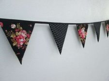 Buy Vintage Rose Polka Dot,Black Mini Fabric Bunting Double Sided Banner 100 cm/ 39""