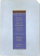 Buy New York Angola Matchcover Angola Hotel 44 Commercial w/Very Low Phone Num~2347