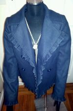 Buy Casual Ruffle Elegant Navy Blue Solid Lined Soft JACKET by Mac & Jack-Women's M